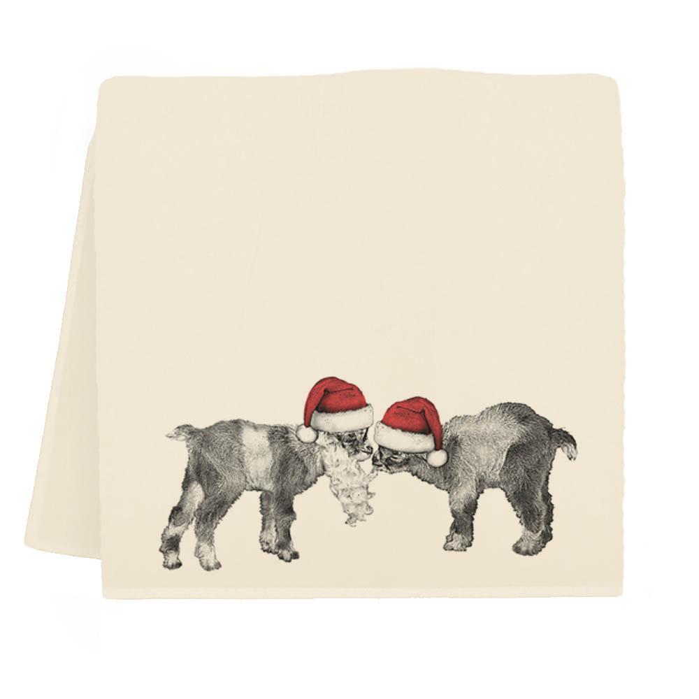 Baby Santa Goats Tea Towel