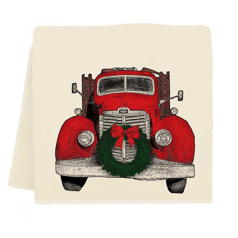Truck with Wreath Tea Towel