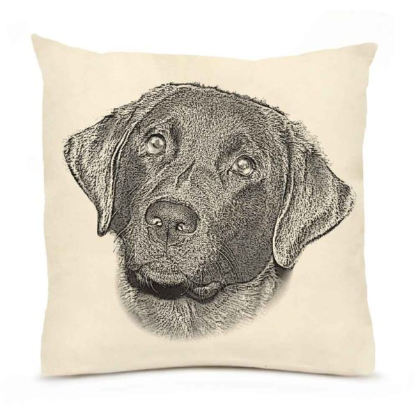 Black Lab #1 Large Pillow