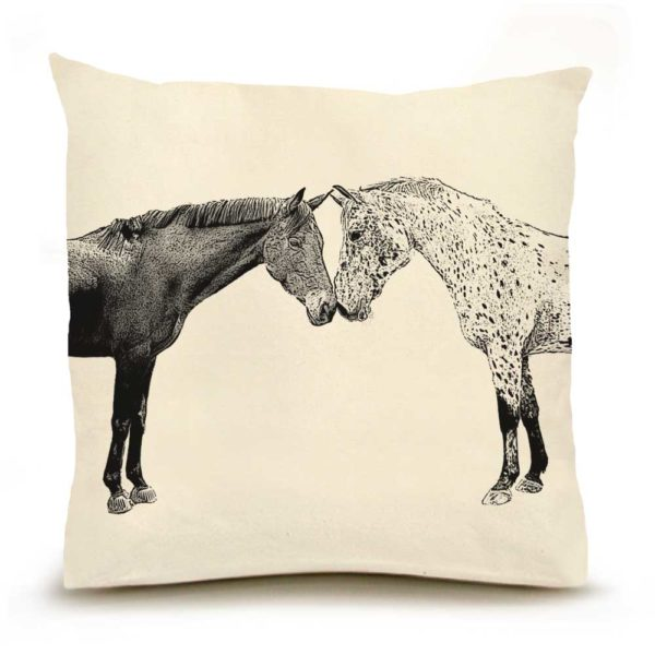 Kissing Horses Large Pillow