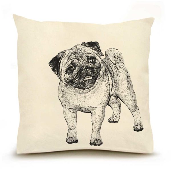Pug #2 Large Pillow