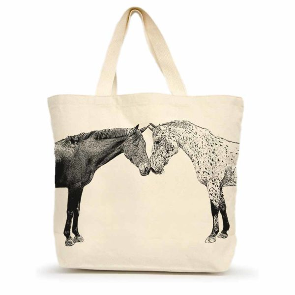 Kissing Horses Large Tote