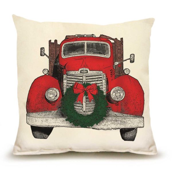 Truck with Wreath Medium Pillow