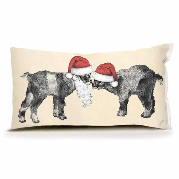 Baby Santa Goats Small Pillow