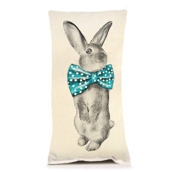 Bunny Bowtie Small Pillow