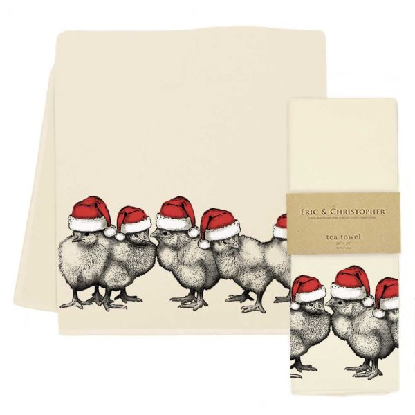 Santa Chicks Tea Towel