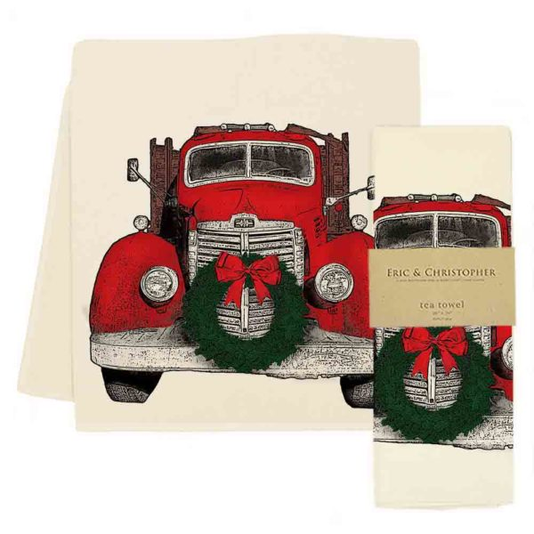 Truck with Wreath Tea Towel
