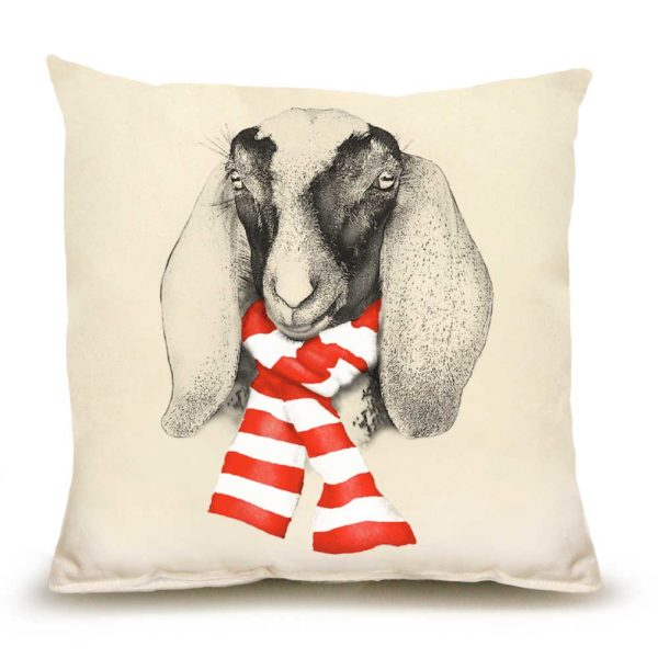 Goat with Scarf Medium Pillow