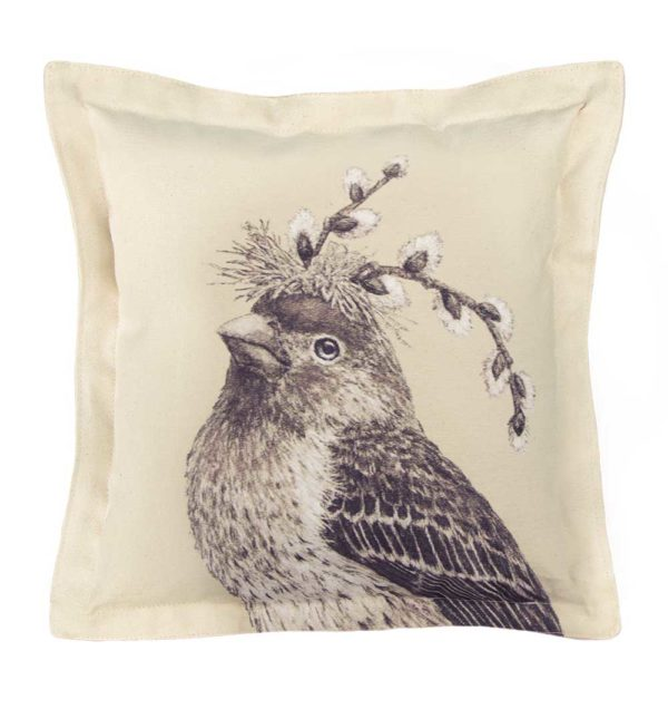 Vicki Sawyer_Square Pillow_Howard the HouseFinch_Product Shot_WEB