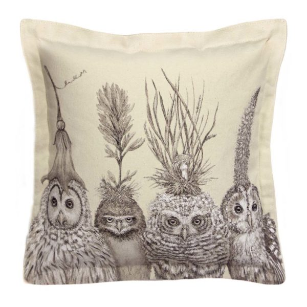 Vicki Sawyer_Square Pillow_Little Owls on Big Hat night_Product Shot