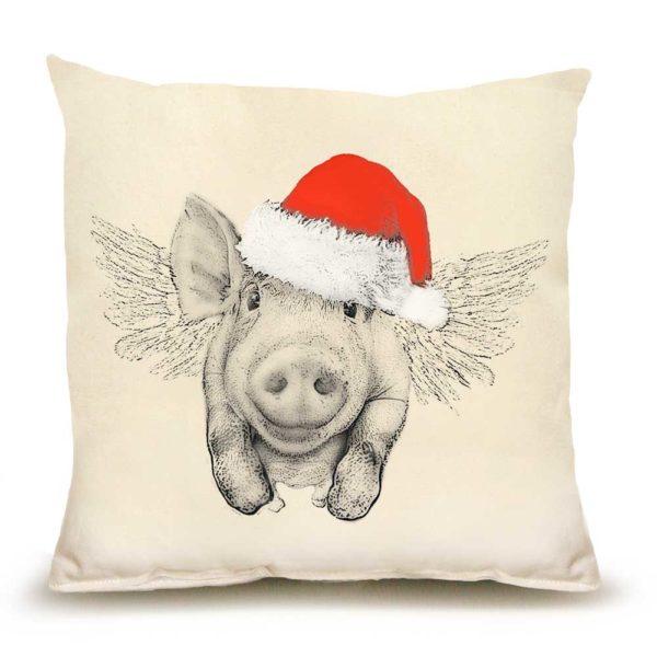 Santa Flying Pig Medium Pillow