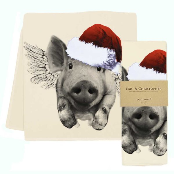 Santa Flying Pig Tea Towel