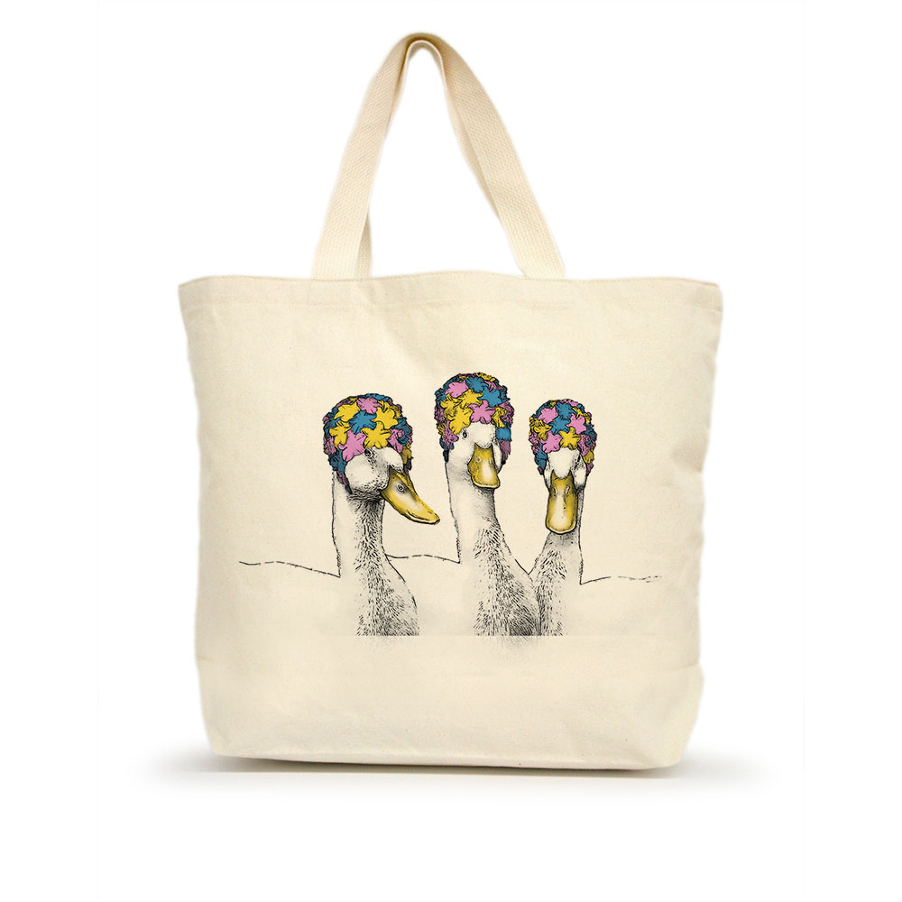 Ducks with Bathing Caps Large Tote