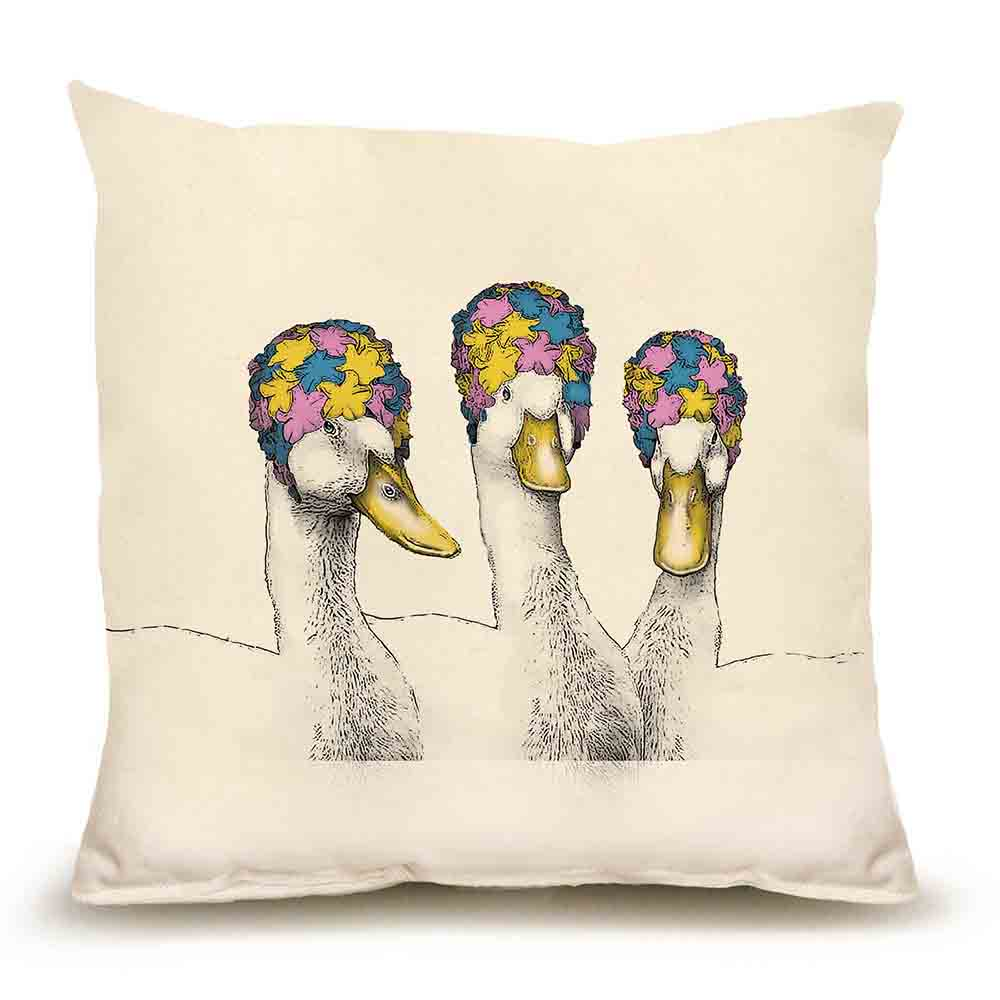Ducks with Bathing Caps Medium Pillow