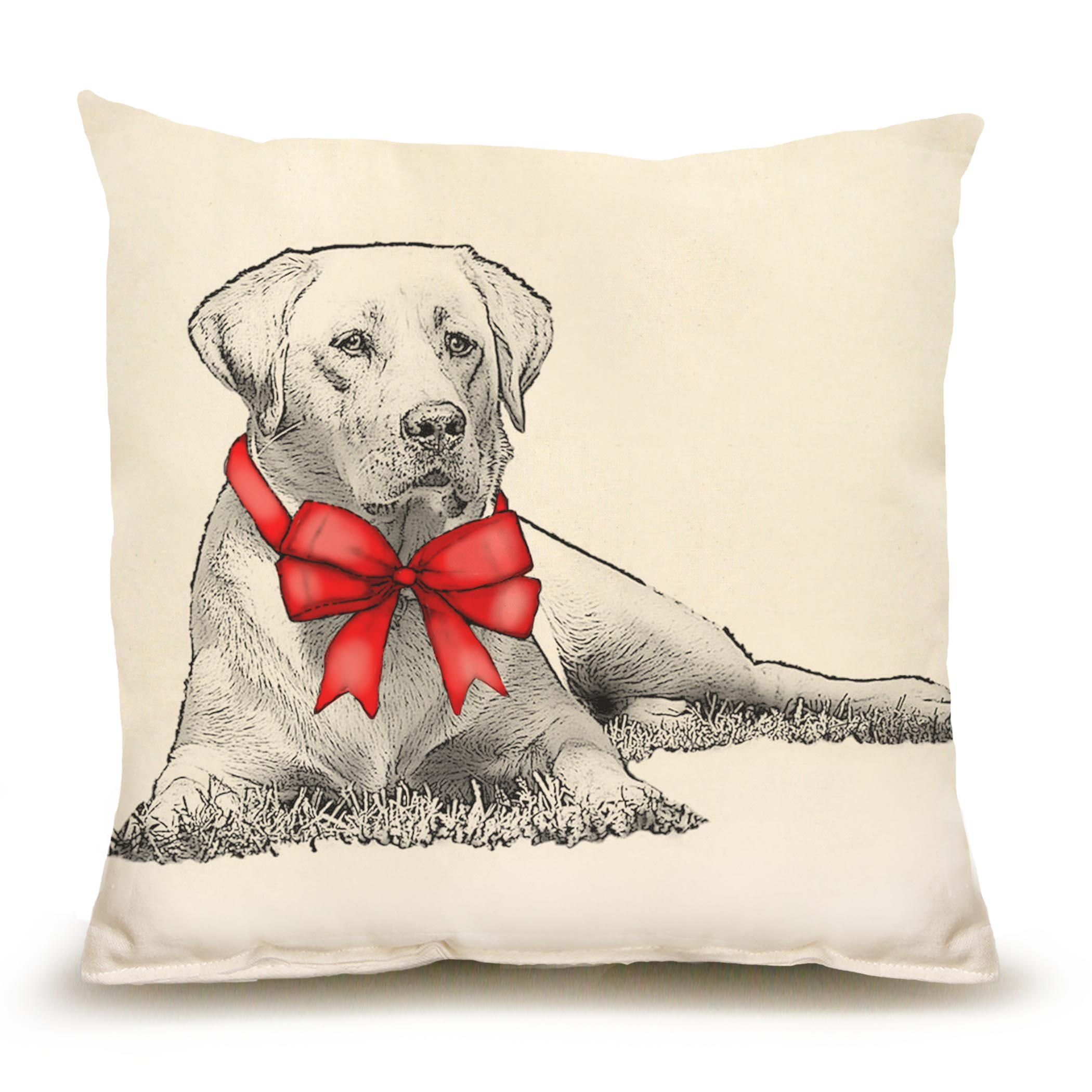 Yellow Lab with Ribbon Medium Pillow