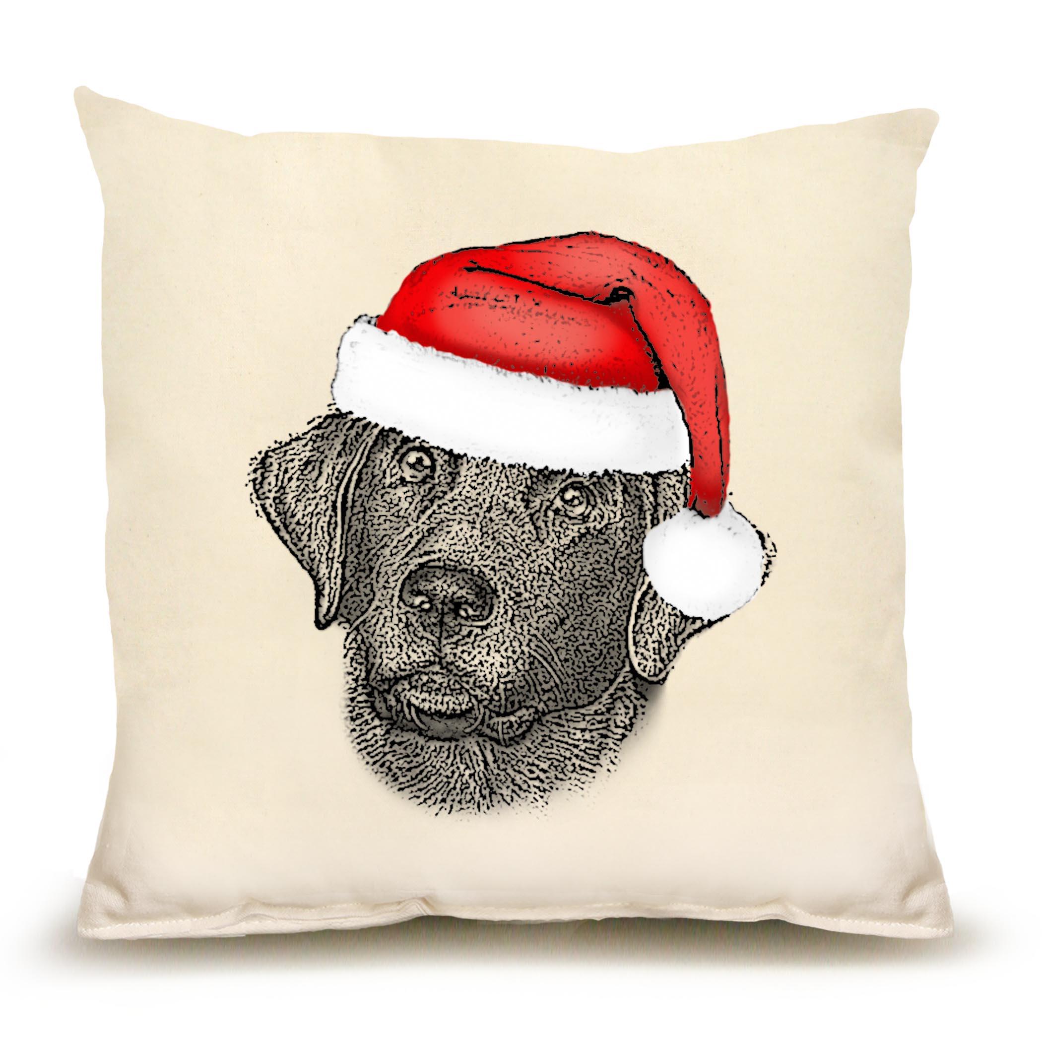 Santa Black Lab Medium Pillow