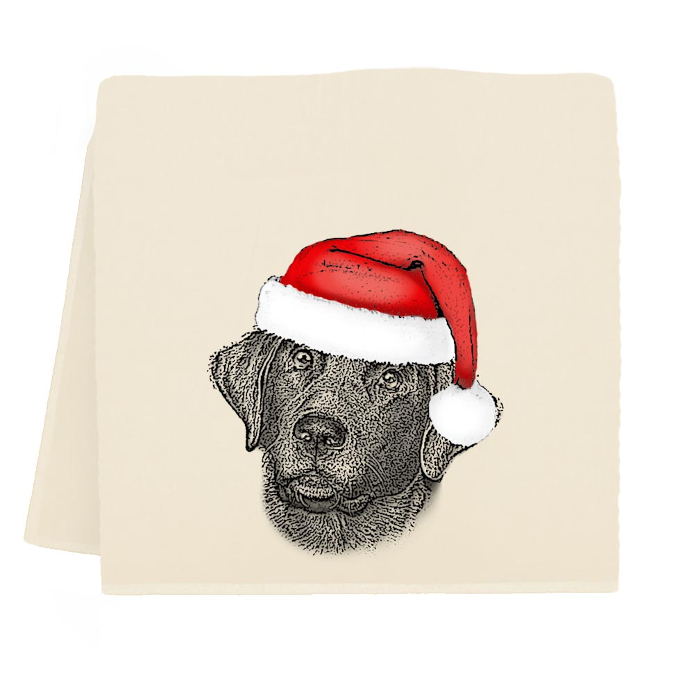 Santa Black Lab Tea Towel