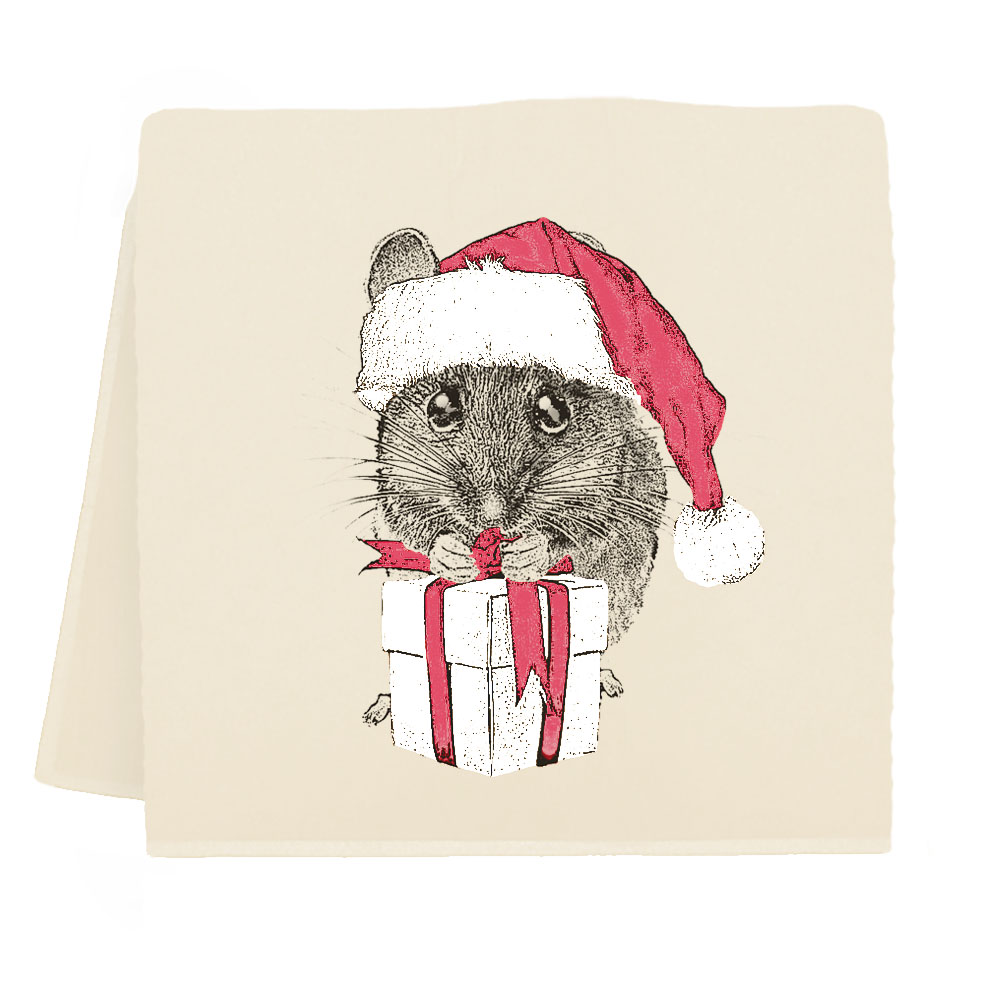 Santa Mouse #1 Tea Towel