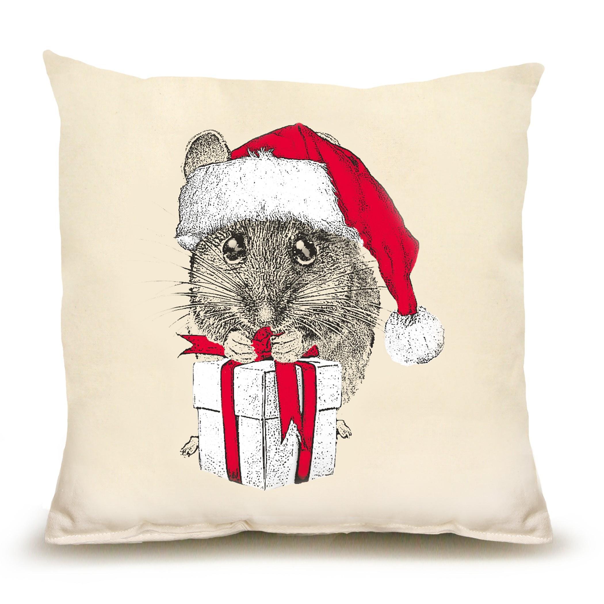 Santa Mouse #1 Medium Pillow