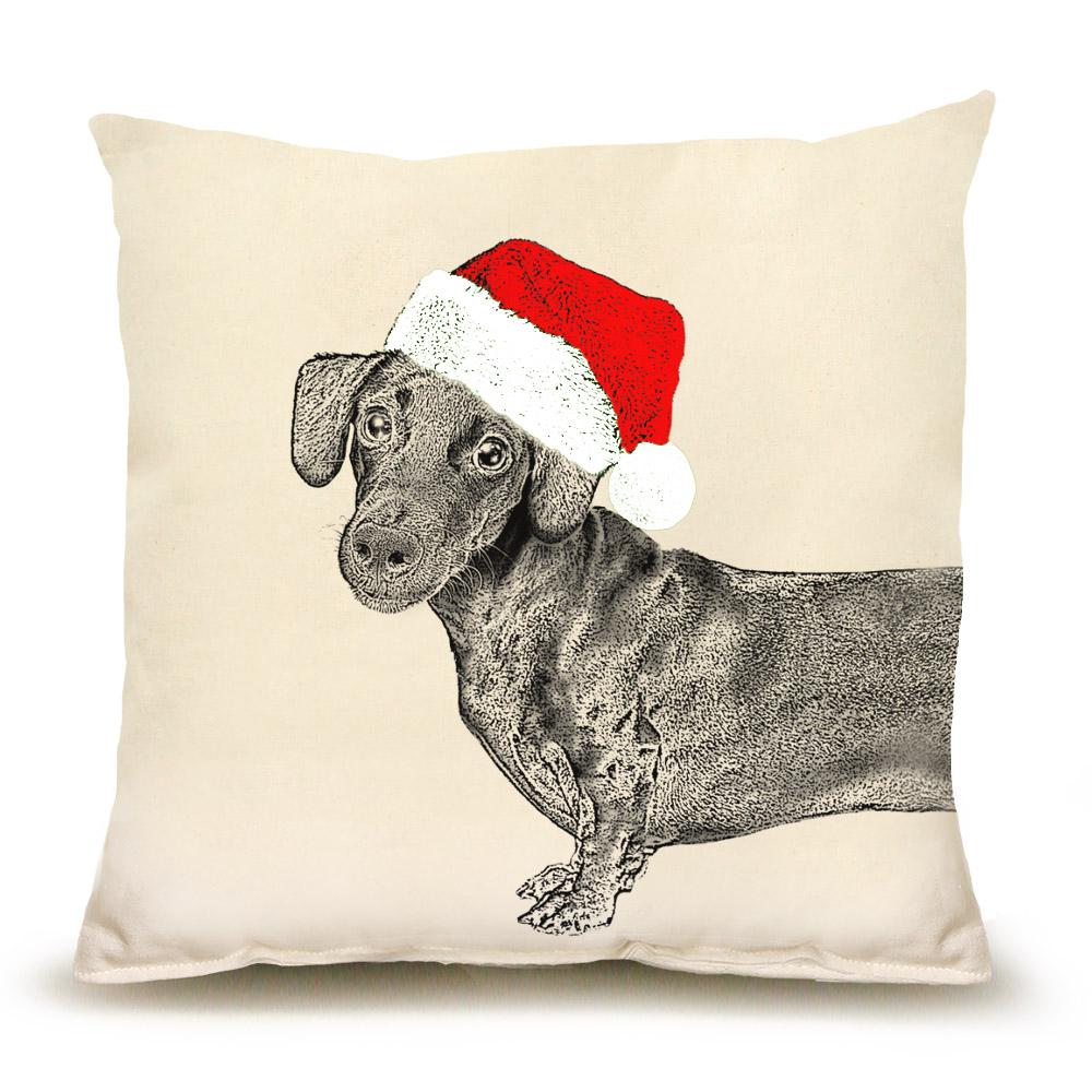 Santa Dachshund Front Medium Pillow