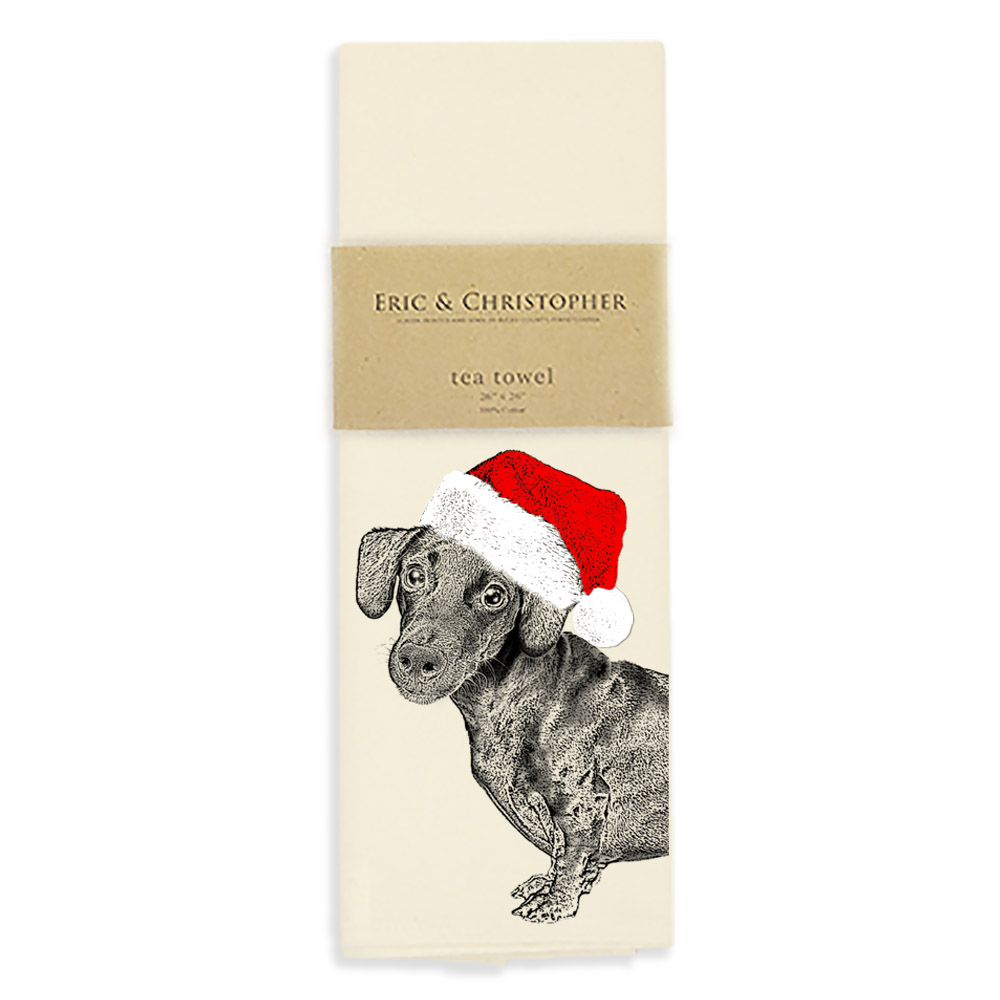 Santa Dachshund Tea Towel
